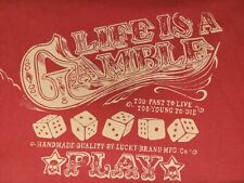 Lucky Brand Mens Life Is A Gamble Classic Fit Graphic Print T-shirt L