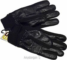 Men's Gloves, leather/knit gloves (M) Winter gloves lined leather warm gloves #6