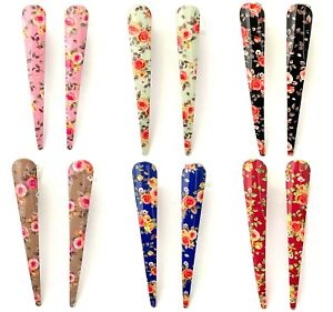 Ladies Long Metal Floral Beak Clips Concord Grips Crocodile Strong Hair Clips