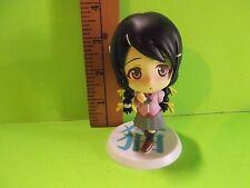 "#929 Unknown Anime Girl With Black Twin Tail Hair Big Head 3.5""in Banpresto 2010"