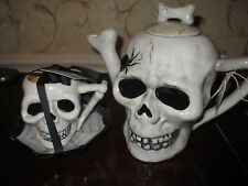Nwt Blue Sky Large Skull/Skeleton Creepy Teapot, Cup & Saucer, Halloween, Htf!