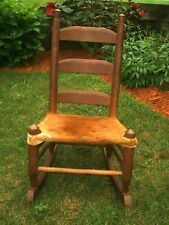 Vintage Cowhide Ladderback Rocking Chair Southwest Western  Farmhouse 1920's