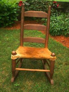 Vintage Genuine Cowhide Ladderback Rocking Chair Western  Farmhouse 1920's