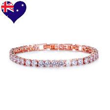 Fashionable Rose Gold Plated CZ Tennis Bracelet- Wedding- Bridal Gift