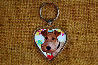 Fox Terrier Gift Keyring Dog Key Ring heart Bithday Gift Xmas Mothers Day Gift