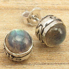 Fire Labradorite Tribal Piercing Earrings Silver Plated Christmas Jewelry Blue