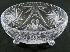 "Vtg Bohemia Lead Crystal Elegant Cut Glass 8"" Footed Bowl Pinwheel Fan Pattern"
