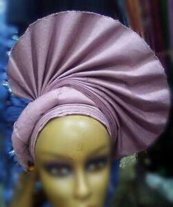 Lilac color Aso-Oke African Headtie Auto Gele, Headgear, Ready Made Gele