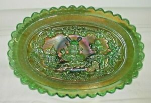 "BEAUTIFUL 8 1/2"" IMPERIAL WINDMILL PICKLE DISH IN GREEN"