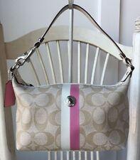 COACH HERITAGE Small Khaki Signature with Pink Stripe PVC & Leather Handbag EUC