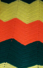 Vintage 1970s Retro Chevron Crochet Afghan Blanket Throw Yellow Green Orange LG
