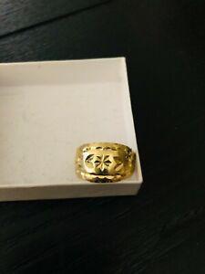 14k gold cigar band ring