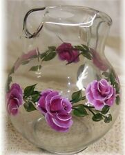 Hand Painted Wine Rose Ice Tea Pitcher