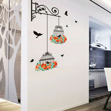 Flower Vine Wall Stickers Bird Cage Art Decal Home Decor Mural Paper Vinyl Lobby