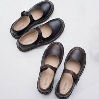New Lolita Womens Faux Leather Flats Mary Jane Shoes Buckle Japanese Maid Shoes
