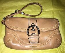 Coach Soho Buckle Brown Leather Cosmetic Bag Coin Purse FREE GIFT