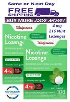 2 Pack Walgreens Nicotine Lozenge 4 mg Stop Smoking Mint 108 Compared Nicorette