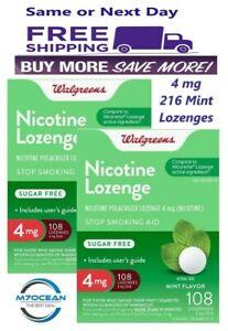 2 Pack Walgreens Nicotine Lozenge 4 mg Stop Smoking Mint 108 Compared Nicorette