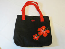 "Roxy black red floral purse shoulder bag felt 11.5""X10.5"" surf skate pre owned"