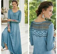 Soft Surroundings Ava Embroidered Beaded Cuff Maxi Dress Crochet Sz M Petite
