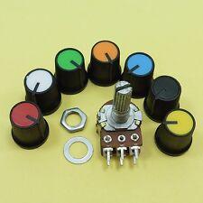 Linear B Stereo Potentiometer + 15mm Plastic Knobs Volume Control Ohm Mixer Cap