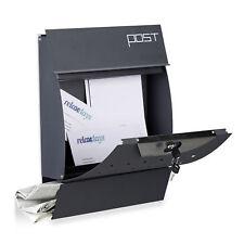 Relaxdays Design Briefkasten mit Zeitungsfach, anthrazit, Wandbriefkasten DIN-A4