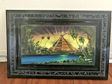 "Mayan Aztec Mesoamerican Pyramid Amazon Hand Painted Clay Wall Art 12"" X 8"""