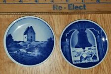Set of 2 Royal Copenhagen Fajance Mini Plates~Wall Plaques Marked and Signed