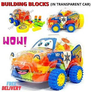 KIDS BUILDING BLOCKS KIT CAR SET 100 PCS CONTRUCTION TOYS DIY GAME EDUCATIONAL