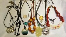 LOT  11 NECKLACE COATED NYLON OR STRING CERAMIC STONE GLASS