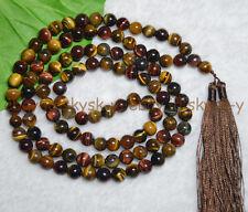 Multicolor Tiger « s Ojo Tibet Budista 108 Rosario Collar Mala de Meditación