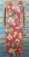 TOMMY BAHAMA Stretch Size 8 Orange And White Floral  Silk Blend  A-Line Dress