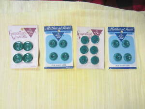Lot of 4 Cards - 18 Le Chic Greens Buttons - 2 Cards Mother of Pearl