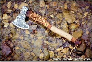WEDDING GIFT RAGNAR Viking AXE, Engraved Handle Carbon Steel Axe, HANDMADE AXE
