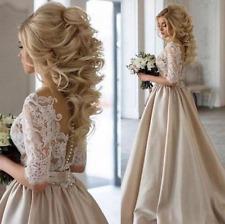 Fashion Half Sleeve Wedding Dresses Lace Satin Champagne Bridal Gown Custom Made