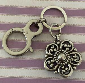 Brighton LA PAZ Flower Silver Keychain Key Zipper Pull Purse Charm