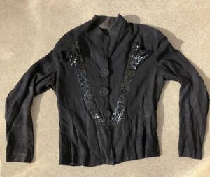 Vintage 1940s Black Crepe Rayon Jacket Coat Deco Sequin Arrow Pockets Big Button