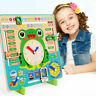Wooden Calendar Clock Educational Weather Season Toys Learning For Kids Clo I2D1