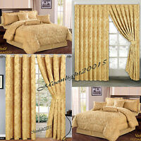 Double & King Size Gold 7 Piece Jacquard Quilted Bedspread & Matching Curtains