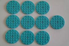 10 Lego Platte Platten 6x6 rund medium azurblau NEU 11213