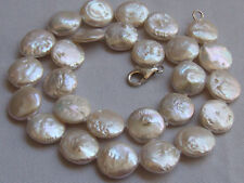 "Pretty 20"" 12-13MM cultured freshwater pearl choke necklace Keshi coin necklace"