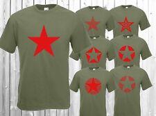 T-Shirt Roter Stern Red Star Kuba Punk Rock Kult Olive Grün