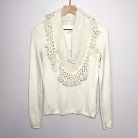 Angel Of The North Anthropologie Size Medium Fringe Cowl Neck Sweater Cream