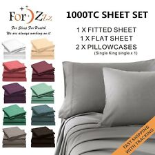 1000TC 4PCS Single/KS/Double/Queen/King Bed Flat Fitted Sheet Set Pillowcase Bed