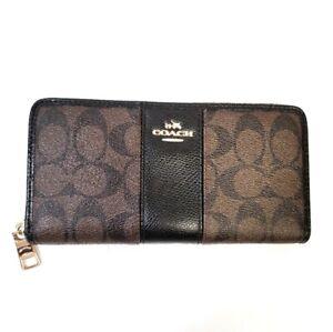 Coach Signature Canvas Leather Trim Zipper Wallet Color: Brown & Black