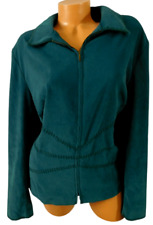 Norton McNaughton green embroidered stretch faux suede zipper down jacket 18W