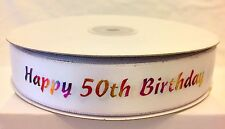 MILESTONE Birthday Ribbon - Cake or Gift Wrap 50th - 5 Metres