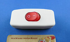 Zwischenschalter Weiß, 2 polig, rote Wippe beleuchtet 250V/2A, Paßt für LED SMD