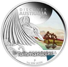 2013 Discover Australia Kookaburra $1 1 Oz Pure Silver Color Proof in FULL OGP