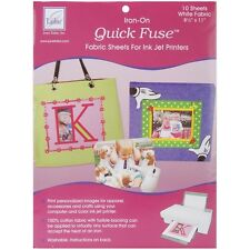 June Tailor Iron - On Quick Fuse 10 pk Fabric Sheets For Ink Jet Printers